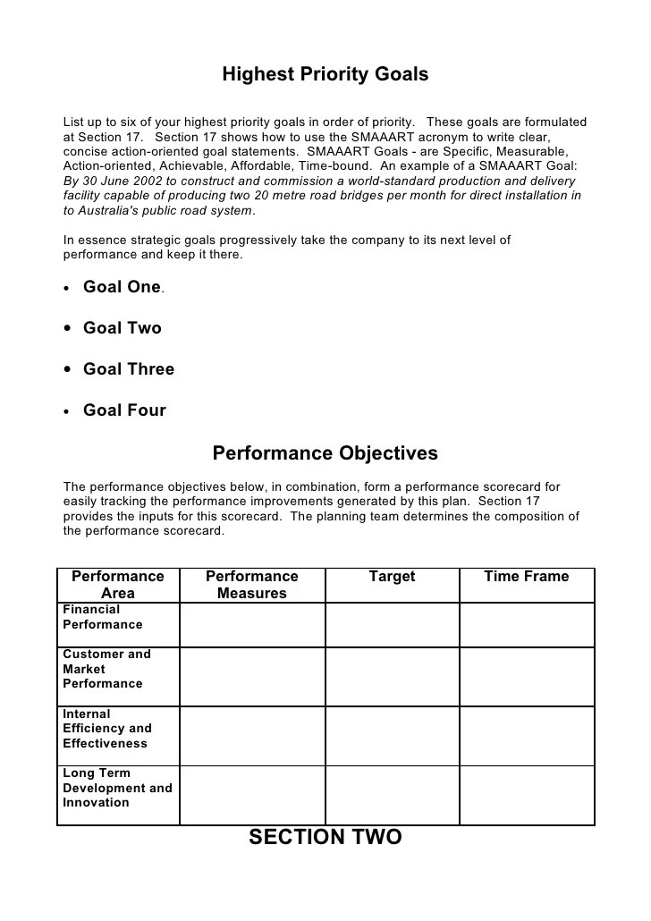 Gazelles Growth Tools Original One Page Strategic Plan 5 Comprehensive Strategic Business Plan Template