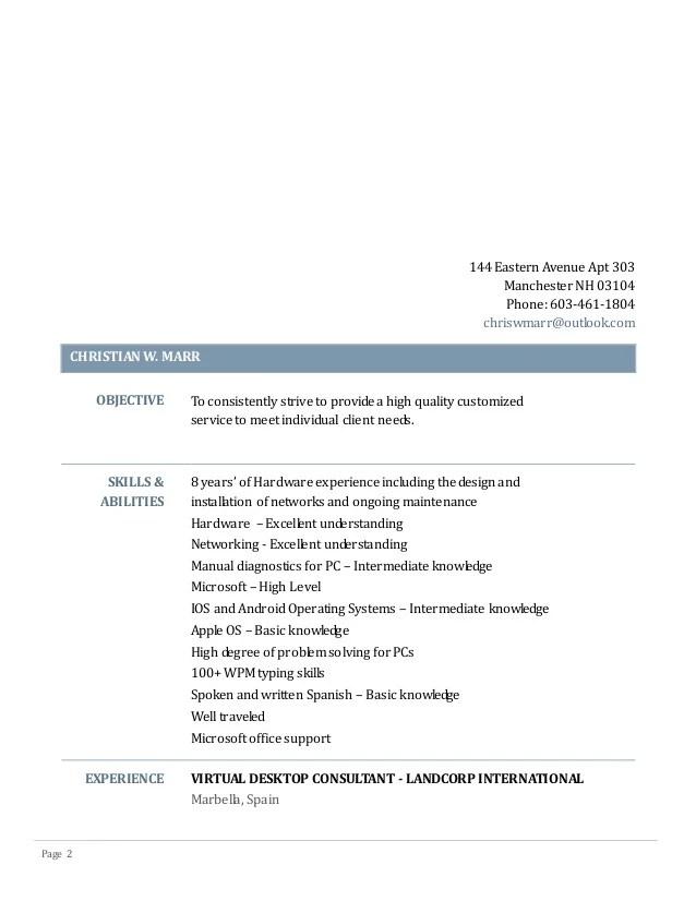 intermediate in spanish resume