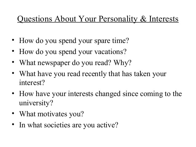 interview questions personality - Funfpandroid