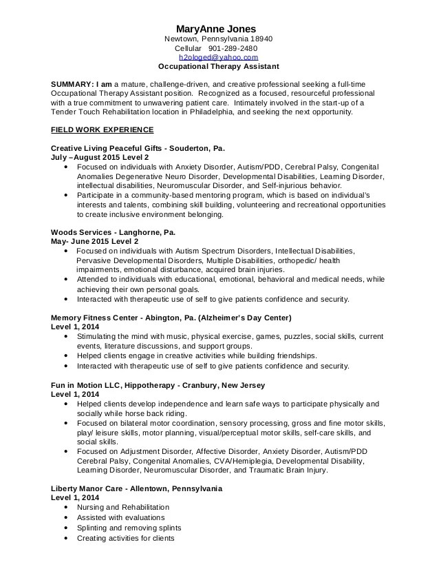 occupational therapy assistant resumes - Onwebioinnovate - occupational therapy assistant resume