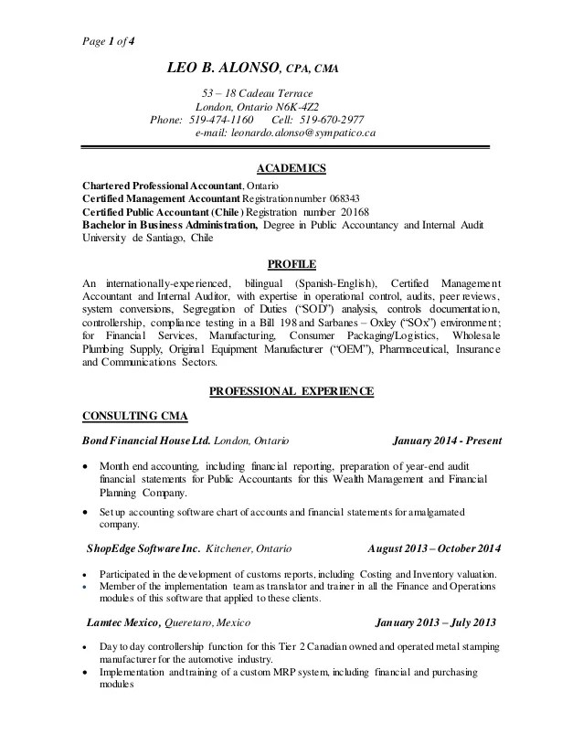 certified management accountant resume - Aprilonthemarch - certified management accountant resume