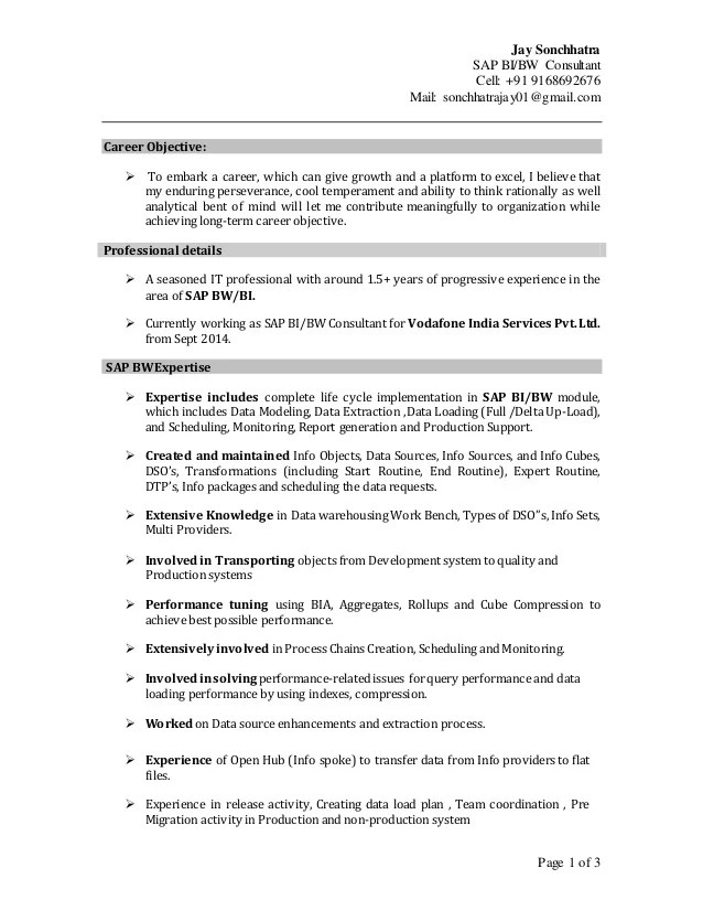 sap abap sample resume india sap abap 2 years experience sample resume sap bw bi consultant
