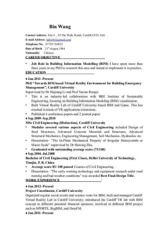 bim resume sample