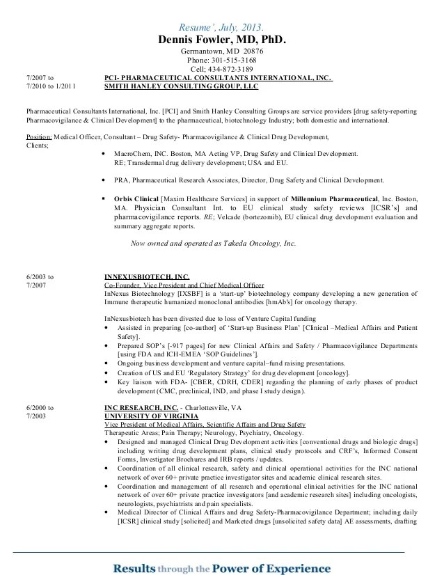 drug safety officer cv