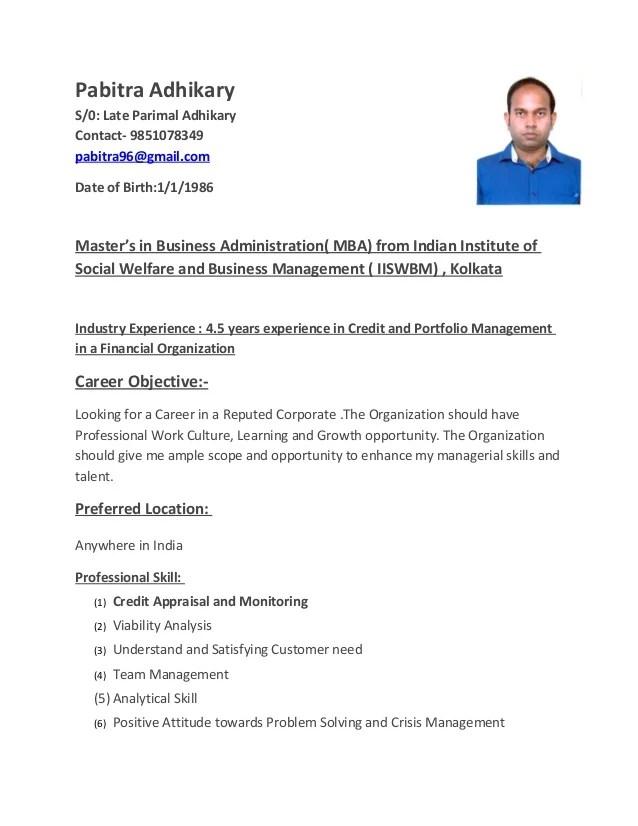 Resume Bank Manager Relationship Manager Resume Sample Pabitra Adhikary Resume Credit Manager