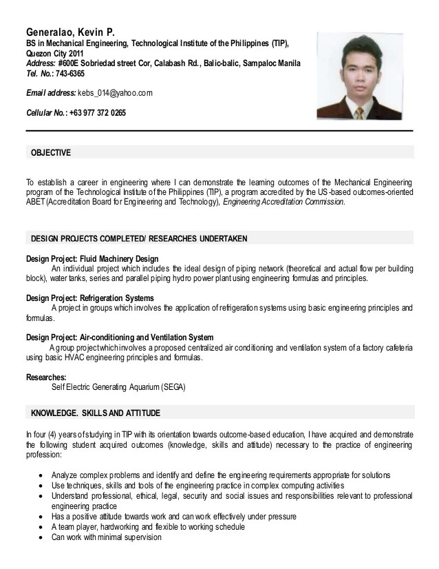 resume example for students ojt
