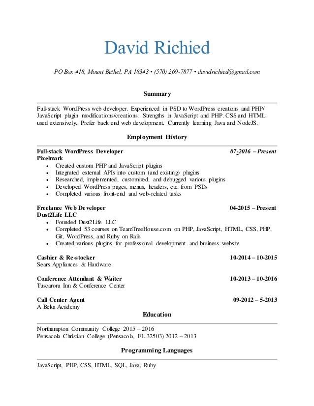 web application developer resumes - Pinarkubkireklamowe