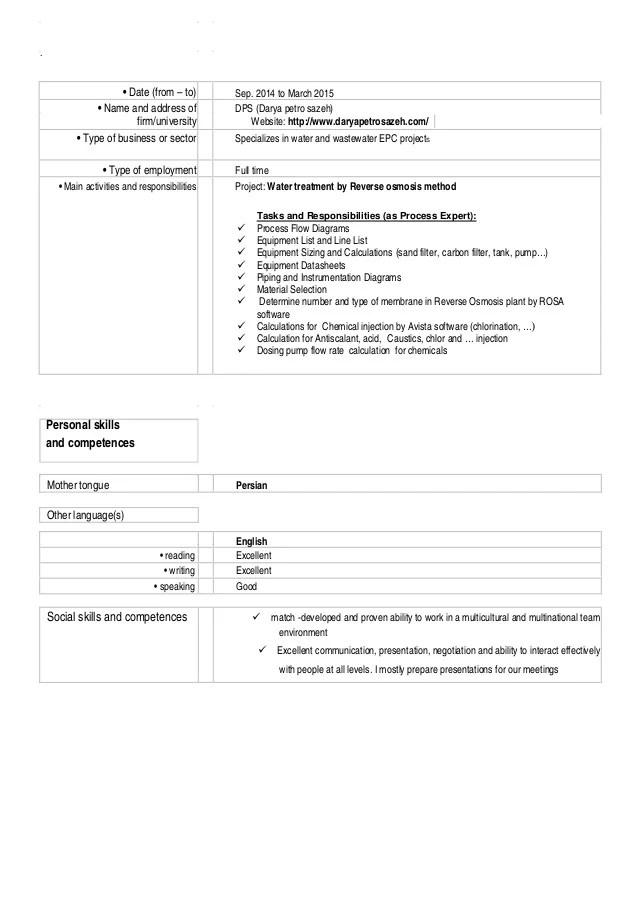 competences cv instrumentation