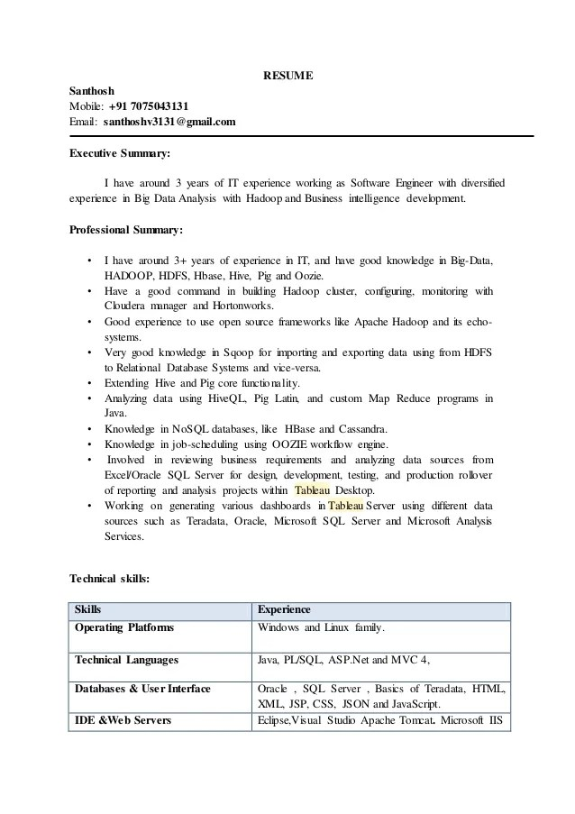 sample resumes for jobs in hadoop