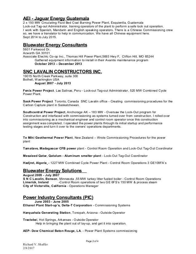 carter connolly operator resume power plant operator resume - power plant operator resume