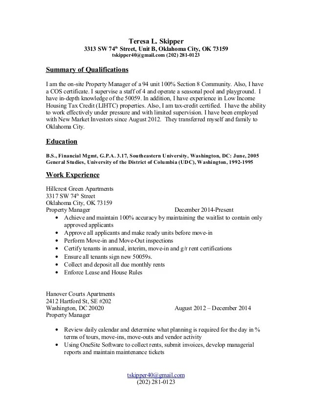 sample on site property manager resume
