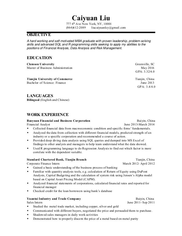 resume for finance analyst - Minimfagency - resume for finance