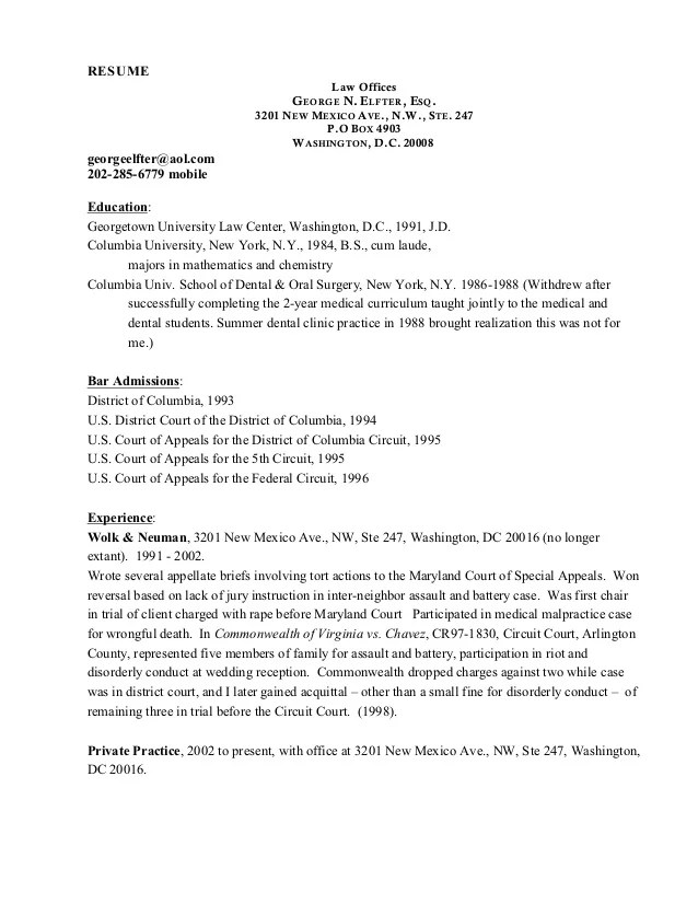 gw law resume sample