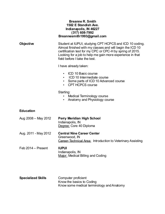 Billing Specialist Resume Objective Vosvetenet – Medical Billing Resumes