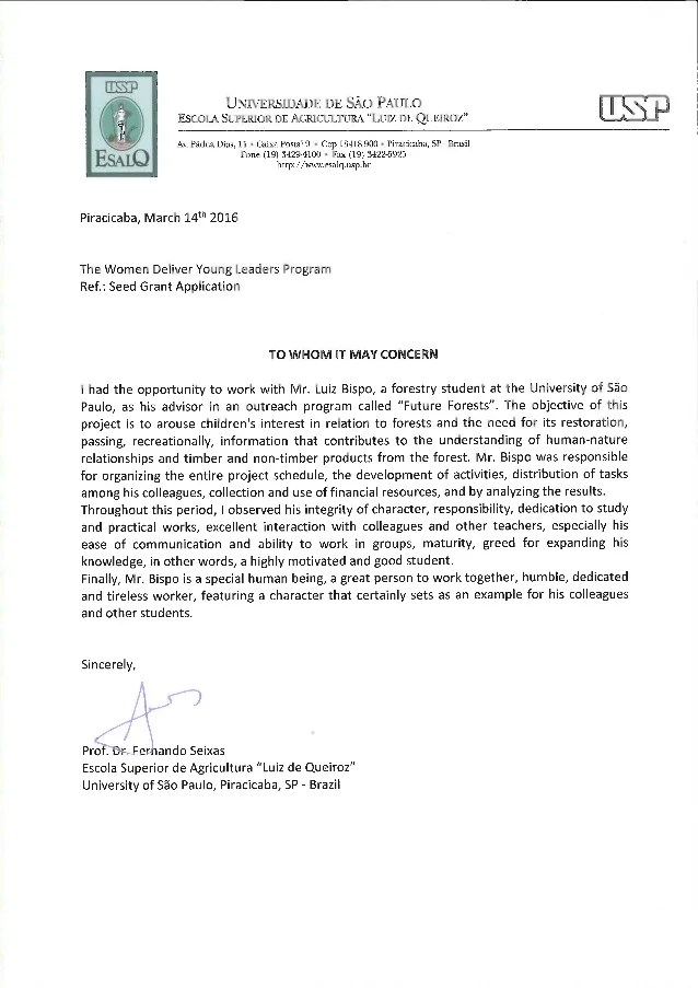 recommendation letter professor