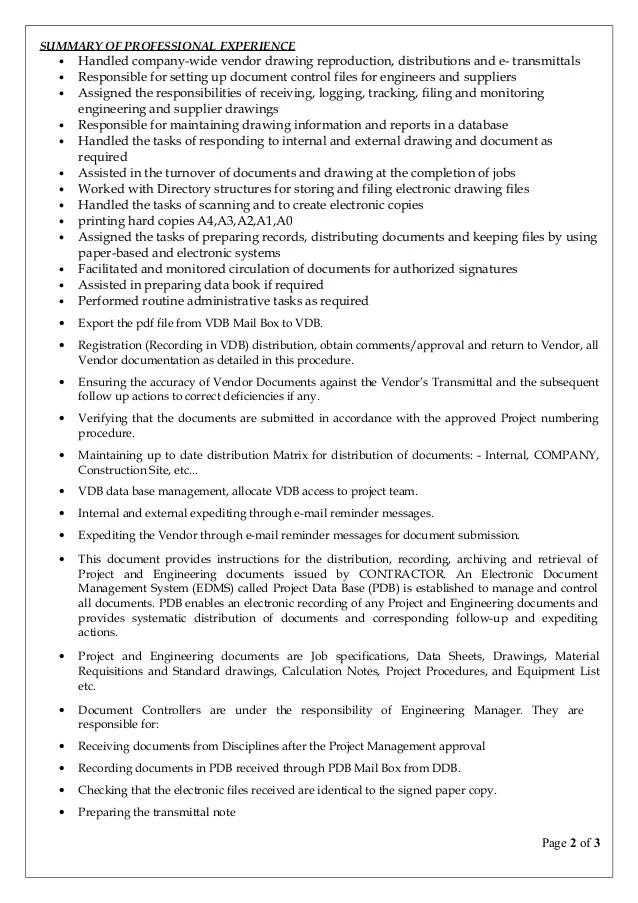 document control resume - Pinarkubkireklamowe