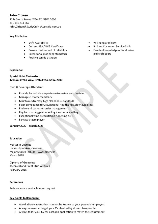 resume template for hospitality - Josemulinohouse