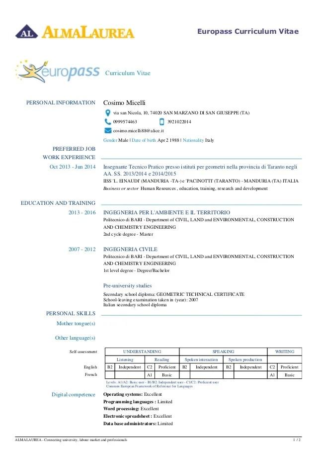 europass create cv in inglese