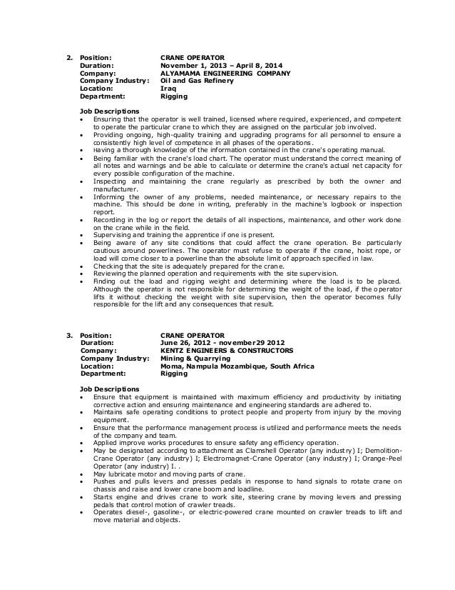 Sample Resume Heavy Equipment Operator - nmdnconference