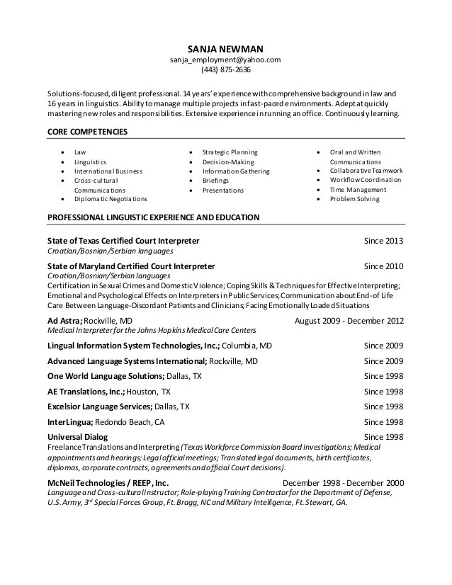 Curriculum Vitae And Resume Writing Services Newman Linguist Resume 2015