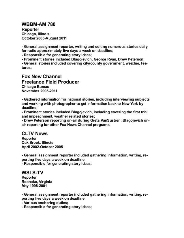 news reporter resume - Intoanysearch - digital journalist resume