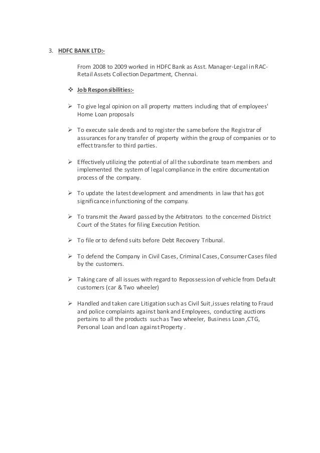 resume update in hdfc bank