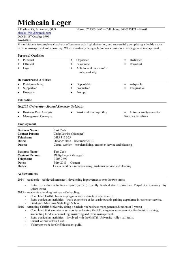 resume examples 2014