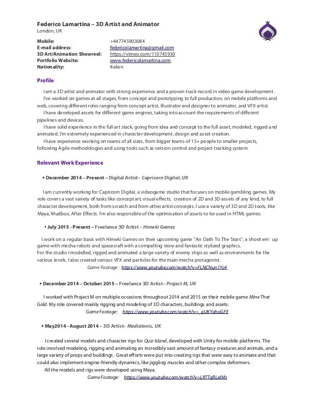 3d Character Animator Cover Letter - sarahepps.com -