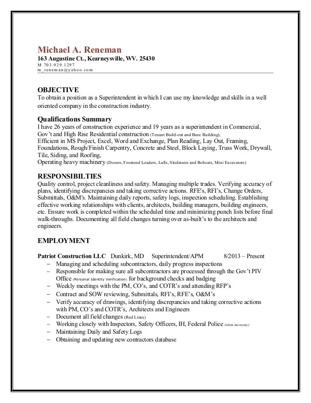 How To Write A Cover Letter To Human Resources With Reneman Superintendent Resume