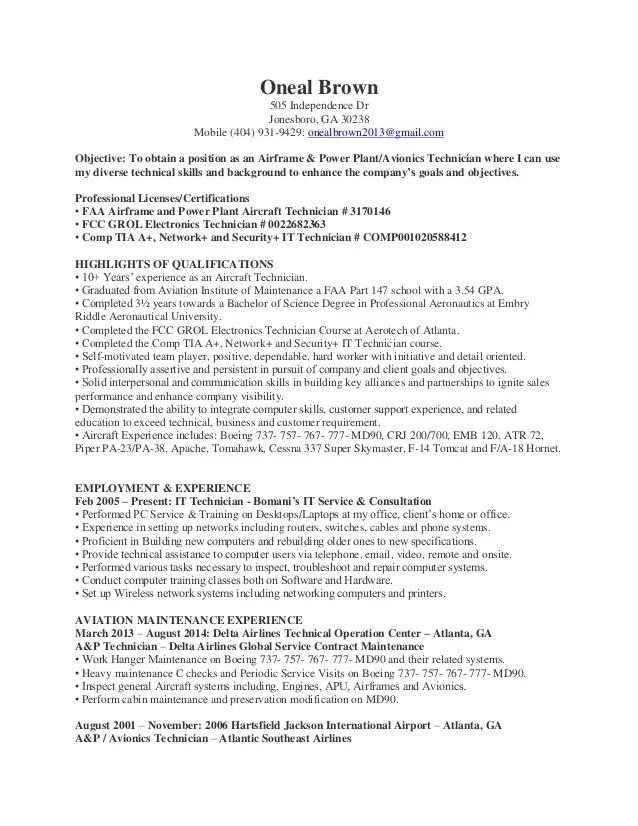 avionics technician resume
