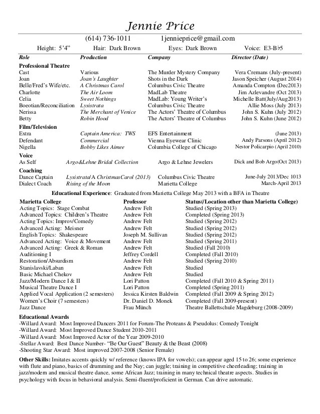 professional theatre resume - Onwebioinnovate - theatre resume