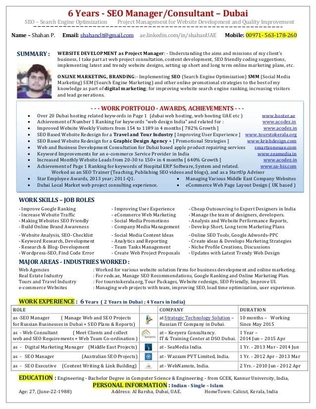 seo manager resumes - Pinarkubkireklamowe
