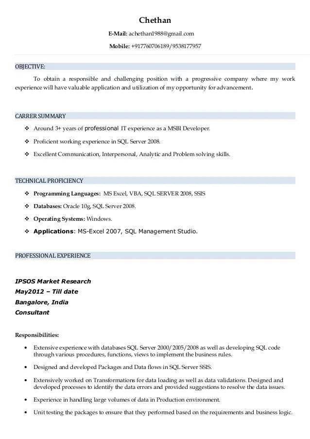 bi developer resume example