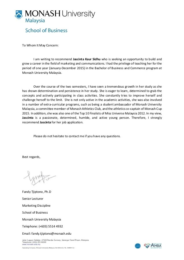 sample of recommendation letter for university admission