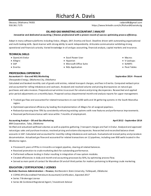 resume oil and gas - Onwebioinnovate