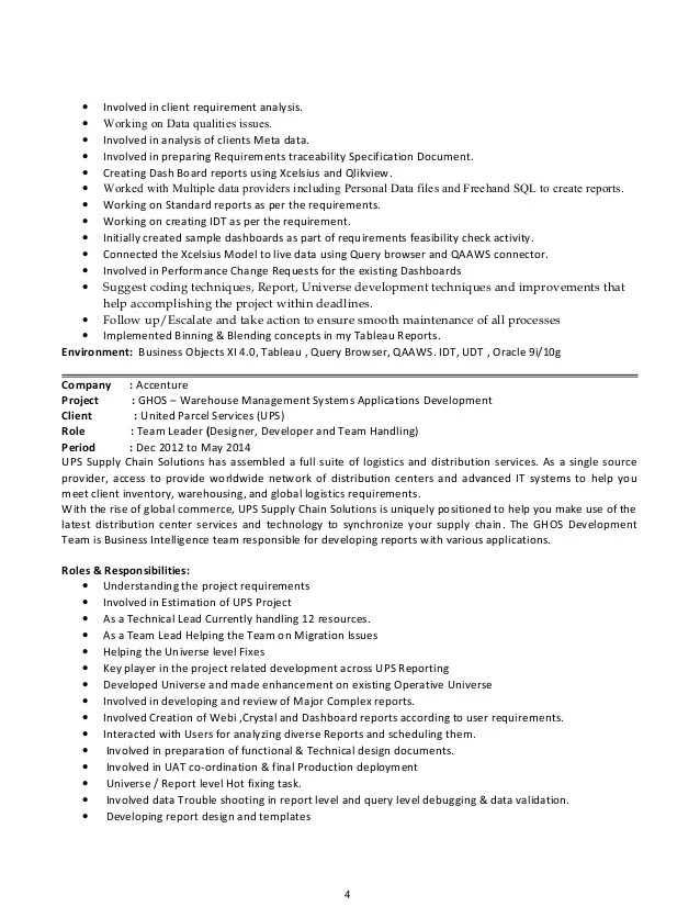 sap bo bi 4 resume sample customer service resume
