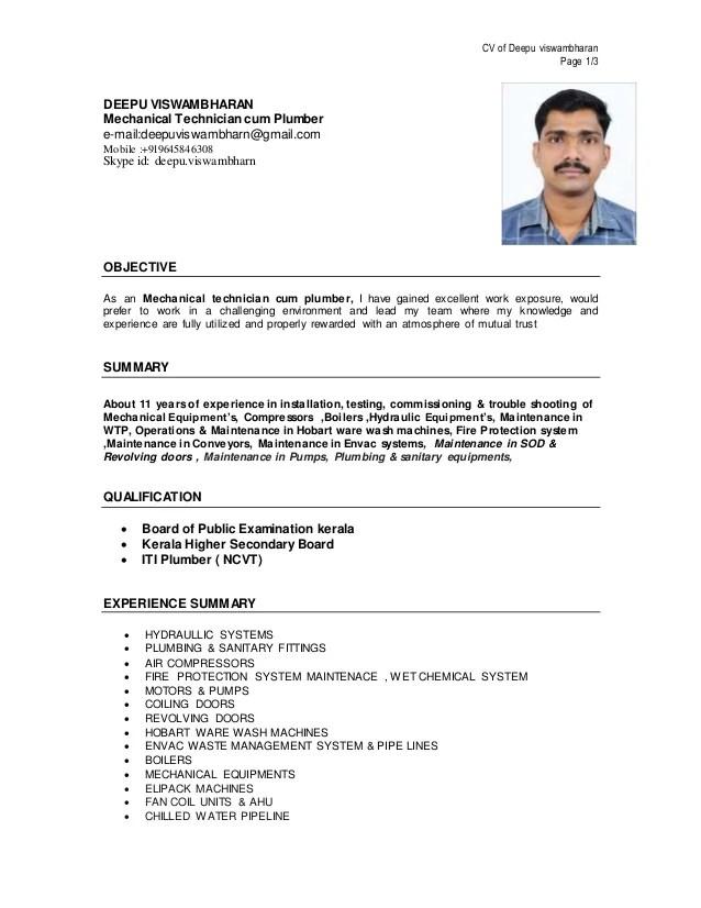 plumbing resume - Jolivibramusic
