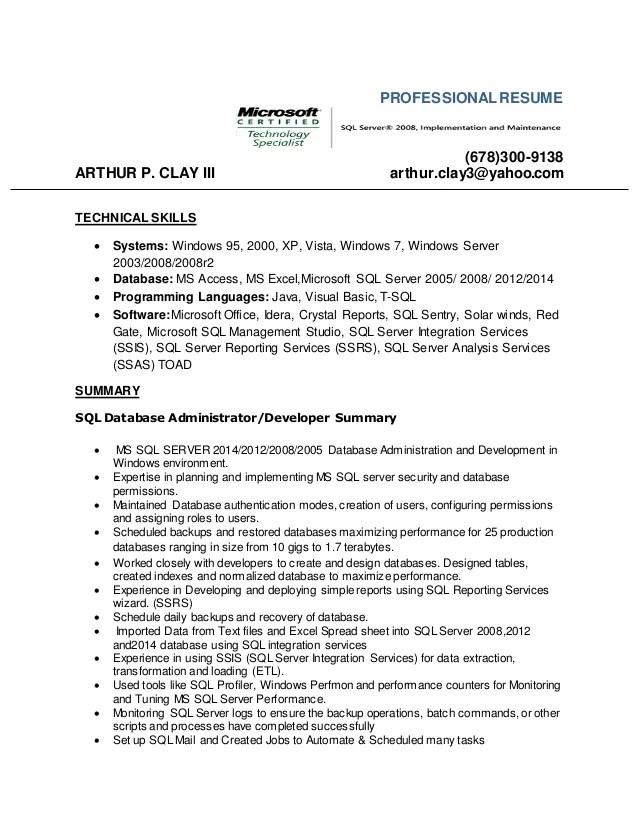 database skills resume - Boatjeremyeaton - resume server skills
