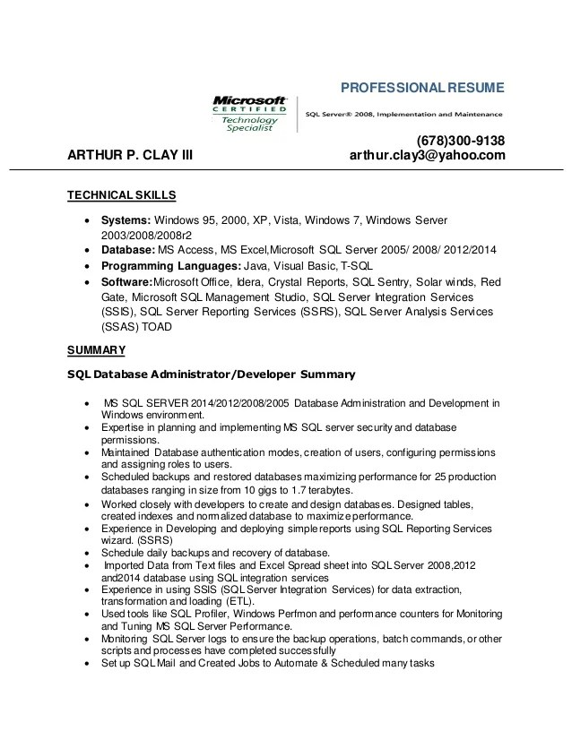 ms access developer resume sample
