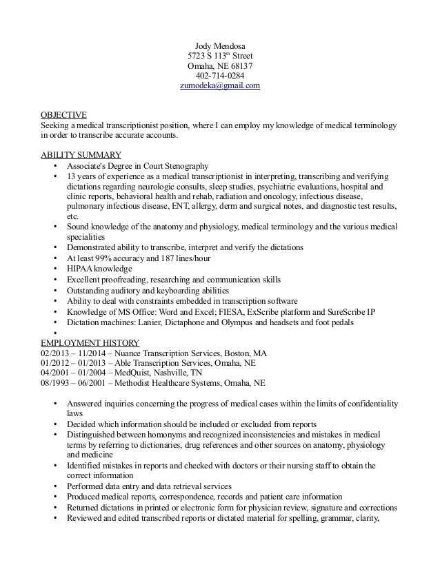 medical transcriptionist resumes - Eczasolinf - medical transcriptionist sample resume