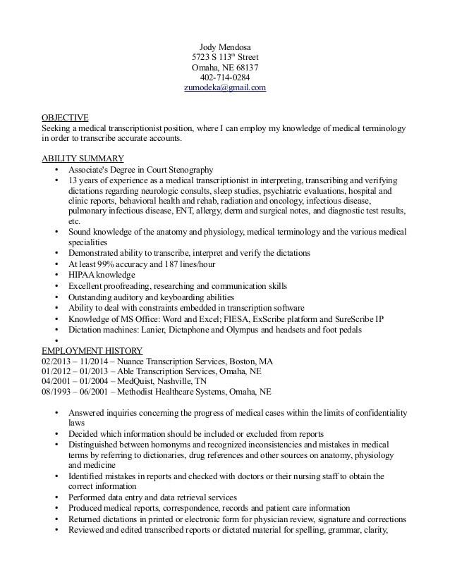 resume format for medical transcriptionist