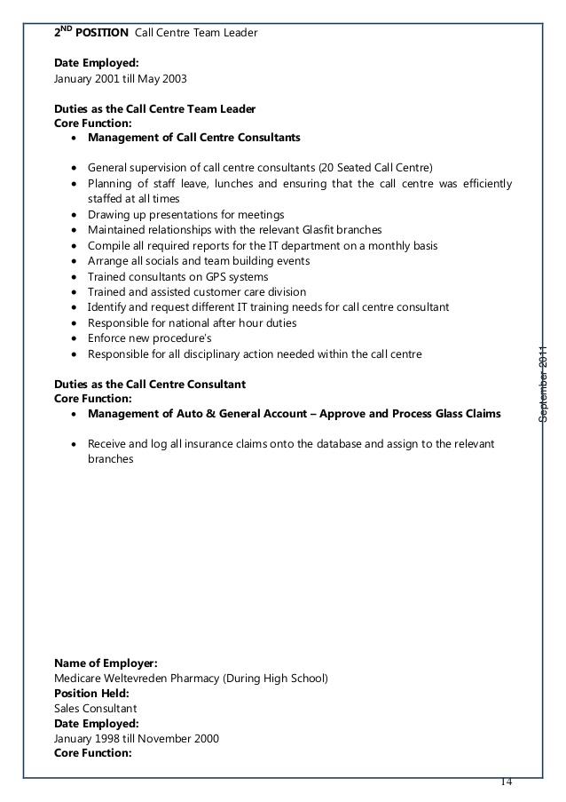 Call Center Supervisor Job Description – Team Leader Job Description