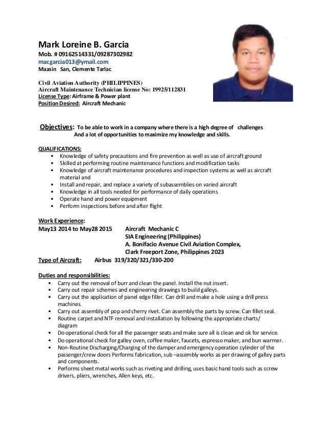 Aircraft sheet metal mechanic resume