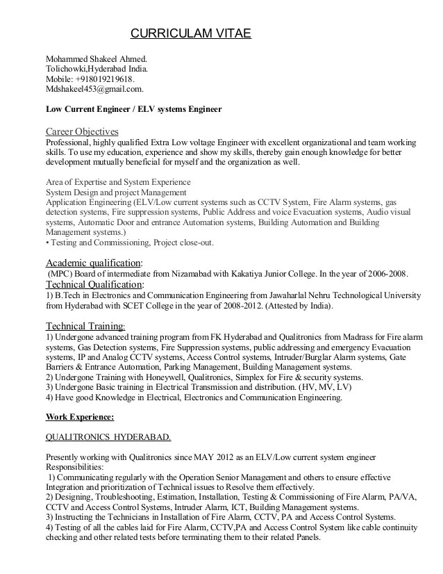 installation technician resume example