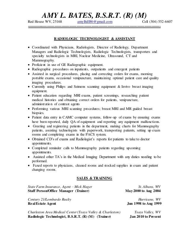 sample resume radiologic technologist sample nicu resume