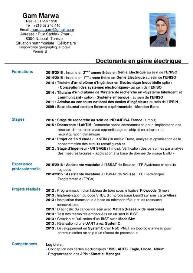 cv exemple presentation profil