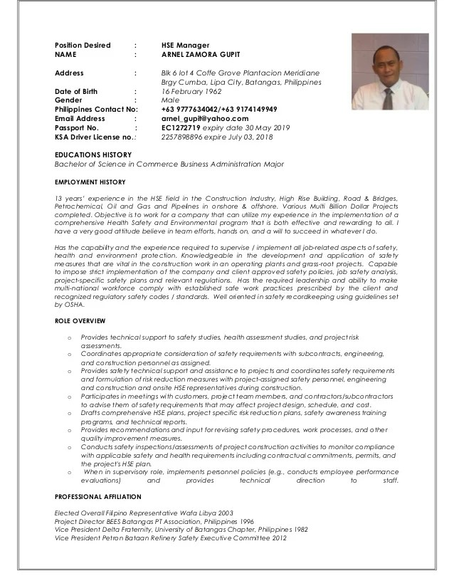 cv template site manager