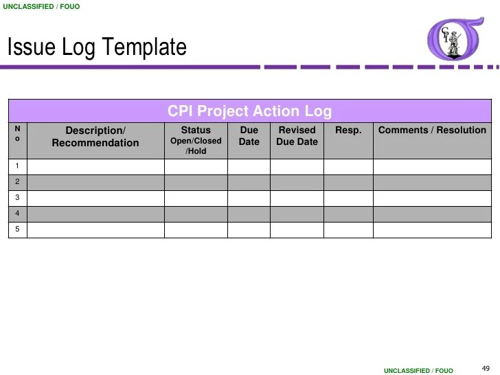 project management issues log template - Apmayssconstruction