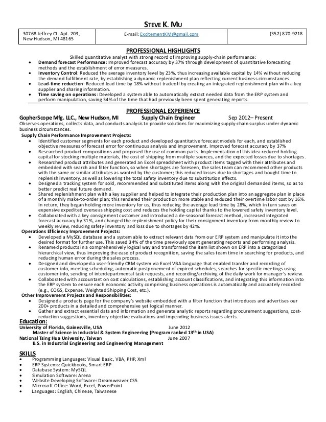 Supply Chain Analyst Sample Resume. sample resume for supply chain ...