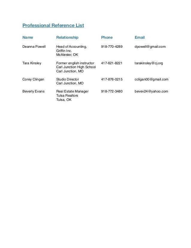 professional list of references - Acurlunamedia